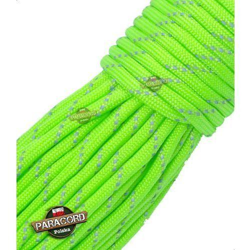 Paracord 550, kolor: Fluor green reflective - odblaskowy - linka spadochronowa z siedmioma rdzeniami