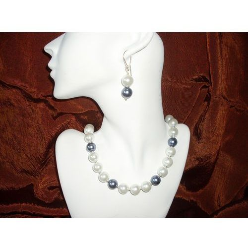 N-00011 Naszyjnik z perełek szklanych, białych i popielatych, 13-03-11