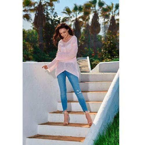Asymetryczny sweter damski LS200 pudrowy róż, 59015 (9343386)
