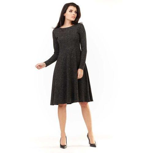 7d70886745 Grafitowa Klasyczna Rozkloszowana Sukienka Melanżowa 139