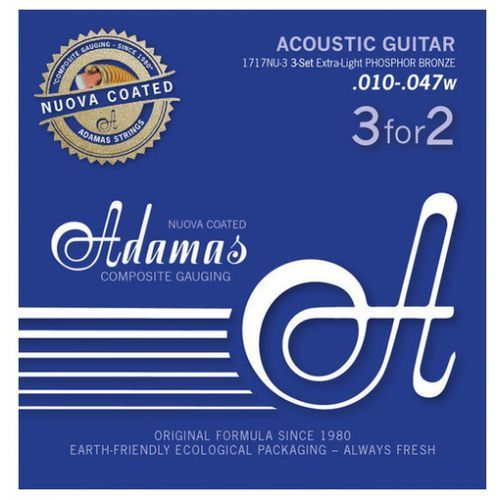 Adamas (665163) Phosphor Bronze Nuova powlekane struny do gitary akustycznej - 3pack Ex-Light.010