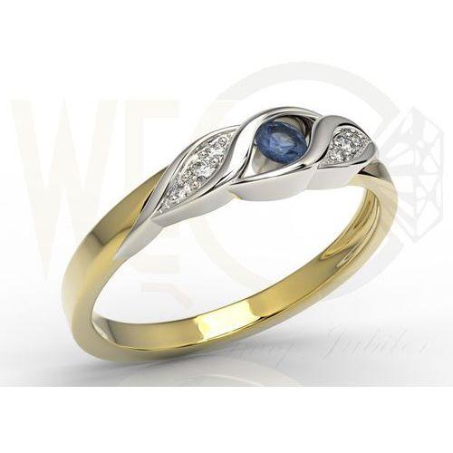 Węc - twój jubiler Pierścionek z żółtego i białego złota z szafirem i diamentami ap-51zb - szafir i diamenty