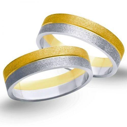 Obrączki z żółtego i białego złota 5mm - O2K/076 - produkt dostępny w Świat Złota
