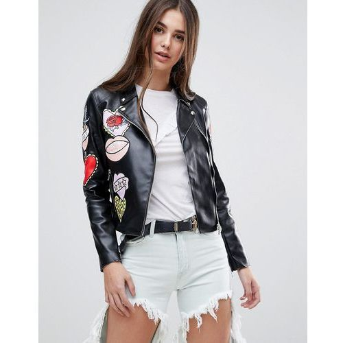 Glamorous Badge Faux Leather Biker Jacket - Black, ramoneska