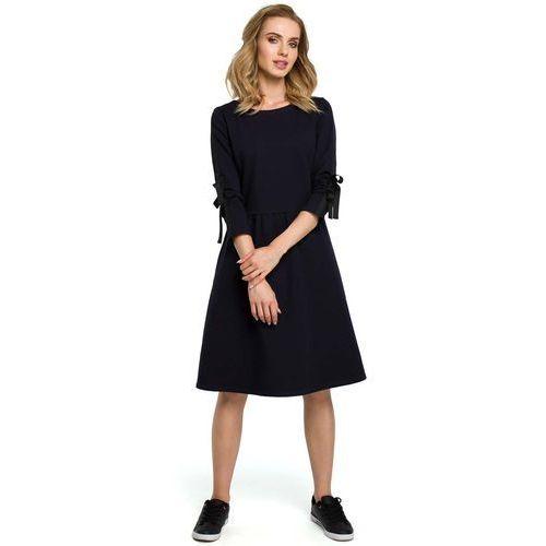 ae9fa04a8b Granatowa Klasyczna Rozkloszowana Sukienka z Lampasem