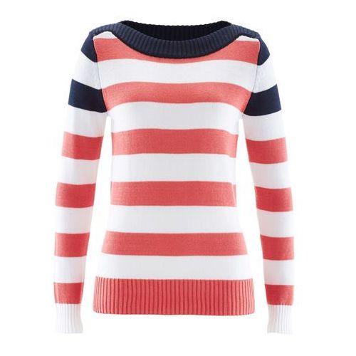 Sweter z dekoltem w łódkę ciemnoniebiesko-koralowo-biały w paski, Bonprix, 44-46