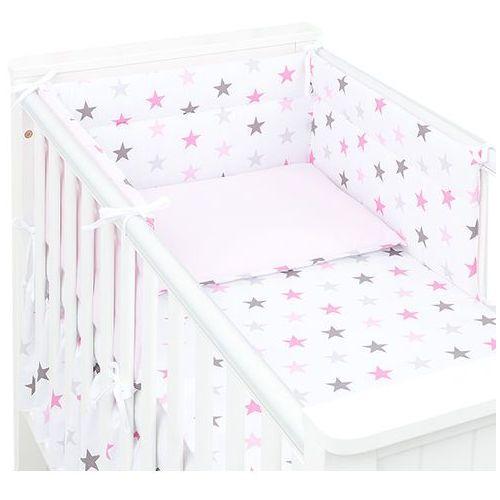 MAMO-TATO 3-el dwustronna pościel dla niemowląt Gwiazdki szare i różowe D / jasny róż do łóżeczka 60x120cm