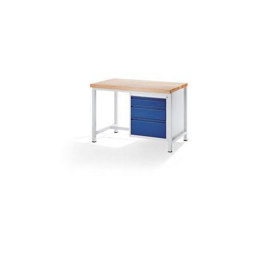 Stół warsztatowy, stabilny,3 szuflady rozmiaru l, wys. po 1 x 120/180/240 mm marki Rau