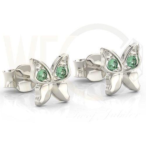 Kolczyki motylki z białego złota z zielonymi cyrkoniami bpk-88b-c - białe marki Węc - twój jubiler