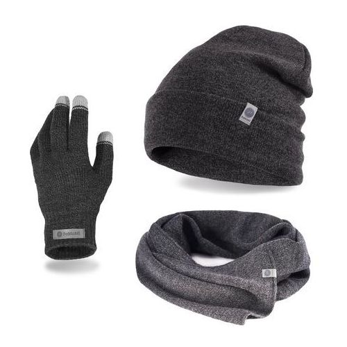 Pamami Komplet męski - czapka, szalik, rękawiczki - ciemnoszara mulina