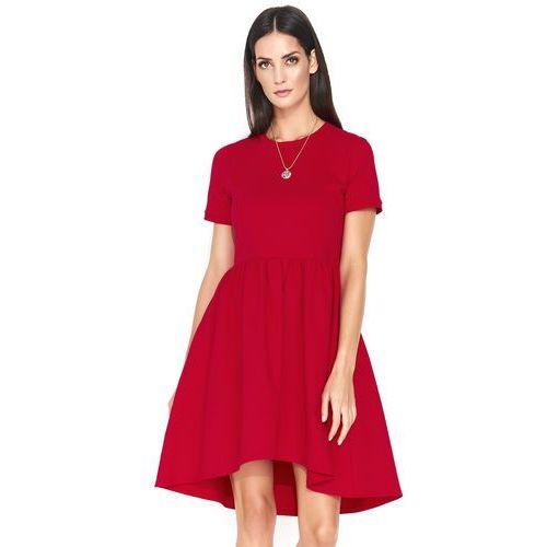 6454afdc97 Czerwona asymetryczna sukienka z krótkim rękawem marki Makadamia 119