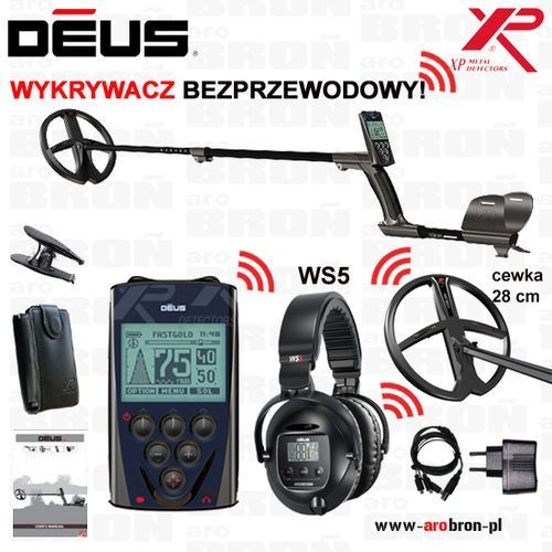 """Wykrywacz metali XP DEUS WS5 cewka 28 cm DD (11"""" DD) słuchawki WS 5 - MEGA ZESTAW! GW: 5lat"""