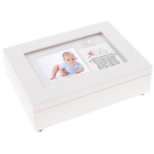 Szkatułka Pozytywka Pudełko Wspomnień z Wózkiem na Chrzest Roczek z DEDYKACJĄ