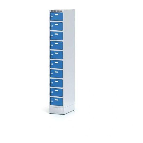 Metalowa szafka ubraniowa 10-drzwiowa na cokole, drzwi niebieske, zamek obrotowy marki Alfa 3