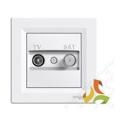 ASFORA Gniazdo antenowe TV-SAT 4dB przelotowe białe z ramką EPH3400221 SCHNEIDER, EPH3400221/SCH