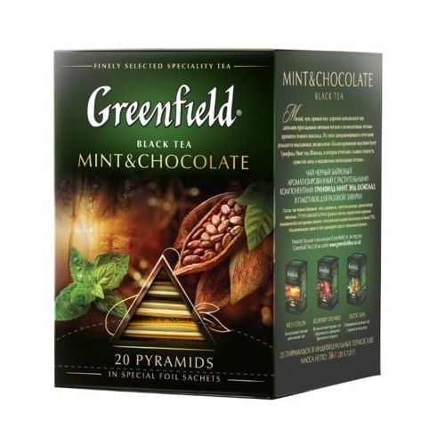20x1,8g mint&chocolate herbata czarna piramidki marki Greenfield