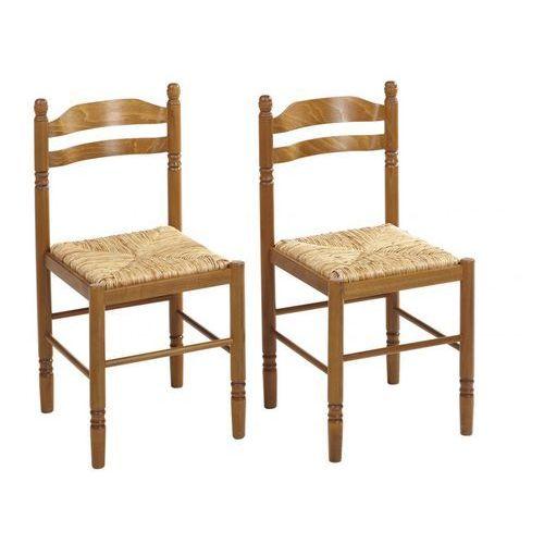 Krzesło z litego drewna z siedziskiem ze słomy X