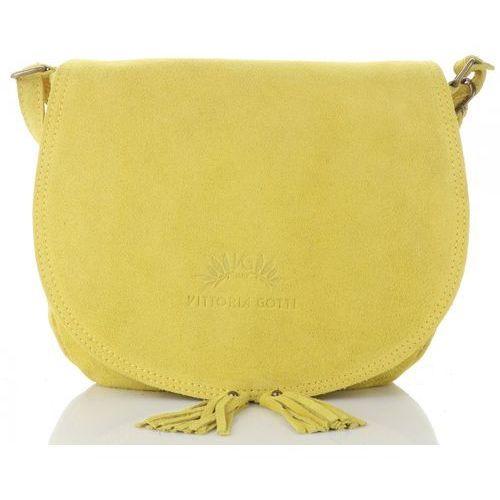 722b9de51e6f6 Vittoria gotti uniwersalne torebki skórzane listonoszki damskie do noszenia  na co dzień wykonane w całości z wysokiej jakości zamszu naturalnego żółte  ...