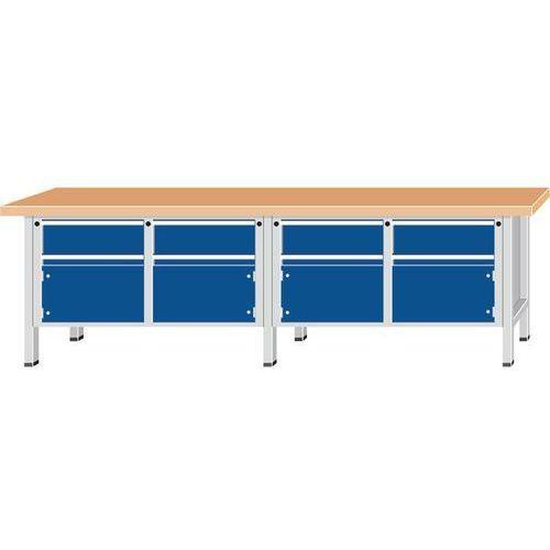 Stół warsztatowy, bardzo szeroki,4 drzwi, 4 szuflady