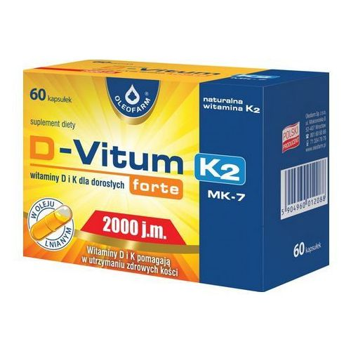 Kapsułki D-Vitum Forte (Witamina D3 2000IU) K-2 (Witamina K2 MK-7 75µg) 60 kaps.
