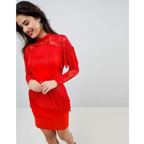 ASOS Ultimate Fringe Long Sleeve Lace Mini Dress - Red, kolor czerwony