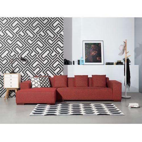 Sofa czerwona - sofa narożna R - tapicerowana - LUNGO (7081459593148)