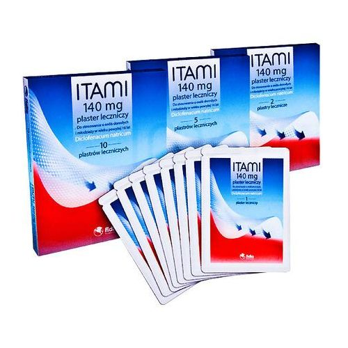 Stada Itami plaster leczniczy z diklofenakiem 140mg - plastry na ból do stosowania na skórę