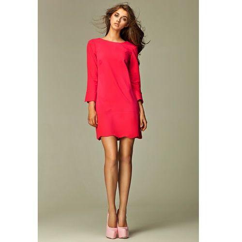 Wyjątkowa Różowa Sukienka z Dekoltem na Plecach, kolor różowy