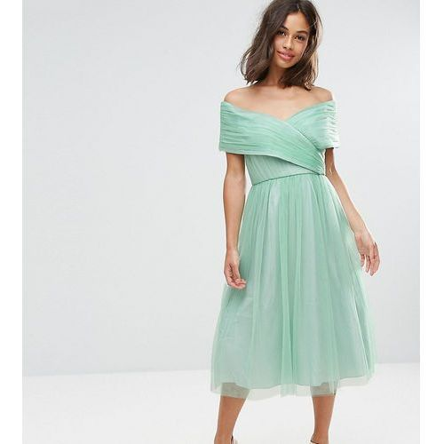 wedding tulle midi dress - green, Asos petite