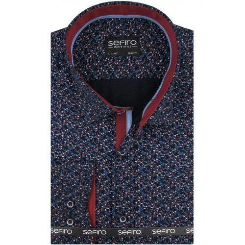 Koszula męska granatowa w kwiatki slim fit na spinki lub guzik a094, Sefiro