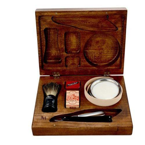 7-elementowy zestaw do golenia brzytwą w drewnianym pudełku - czarny