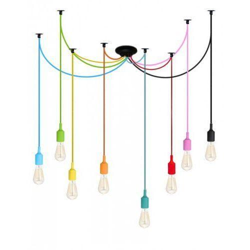 Italhouse Lampa wisząca kolorowy pająk 7 ramion kabel w oplocie tekstylnym