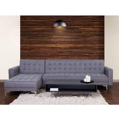 Beliani Sofa szara - kanapa - tapicerowana - rozkładana - narożnik - aberdeen