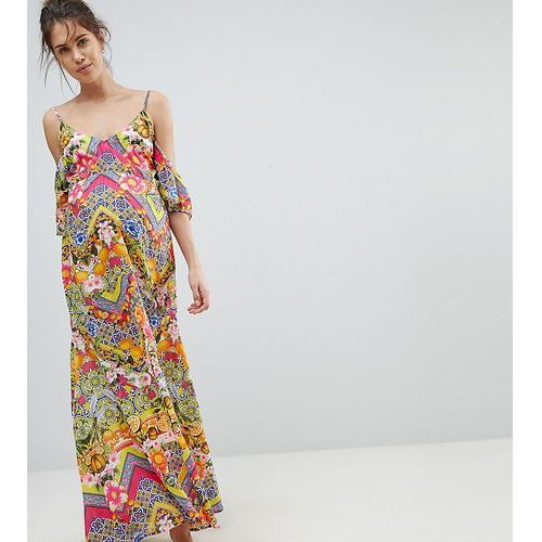 cuban tile print off shoulder bardot frill maxi beach dress - multi, Asos maternity