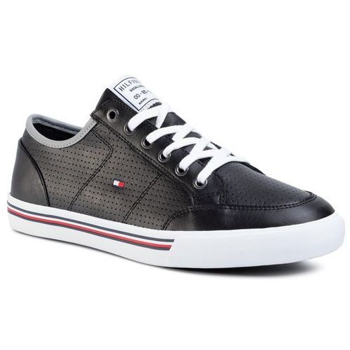 Tommy hilfiger Sneakersy - core corporate leather sneaker fm0fm02677 black bds