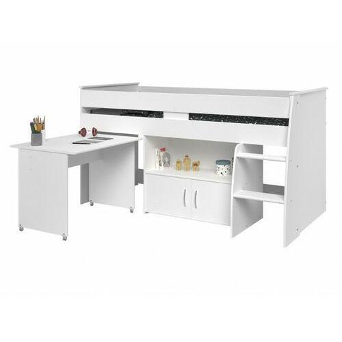 Łóżko MARCELLE - z biurkiem i miejscem do przechowywania - 90x200 cm - Kolor biały