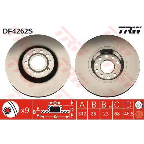 TARCZA HAM TRW DF4262S AUDI A4 3.0 01-04, 2.0TFSI 05-, 3.0TDI QUATTRO 06-, A6 1.9TDI 01-05, 2.4 97-05, 2.5TDI 01-05