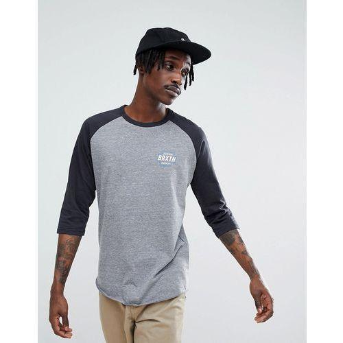 Brixton Garth 3/4 Raglan Sleeve T-Shirt With Small Logo - Grey, w 4 rozmiarach