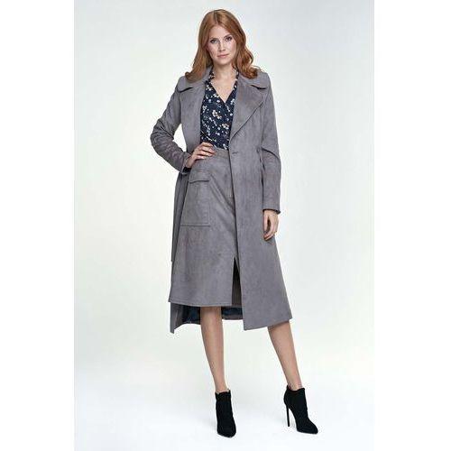 Nife Szary płaszcz długi klasyczny z paskiem