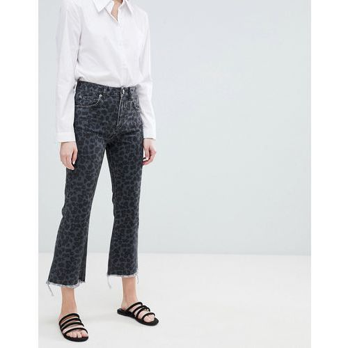 design egerton rigid cropped flare jeans in dark leopard print - multi, Asos