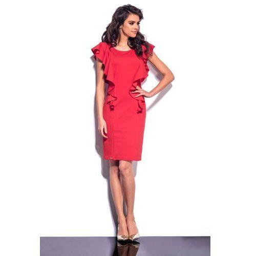 Lemoniade Czerwona sukienka midi z pionowymi falbankami