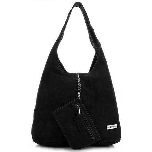 0cde54b3e1439 Oryginalne Torby Skórzane XL VITTORIA GOTTI Shopper Bag z Etui Zamsz  Naturalny Czarna (kolory) 179
