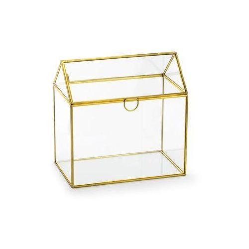 Szklane pudełko na koperty z życzeniami, prezentami - 1 szt. marki Party deco