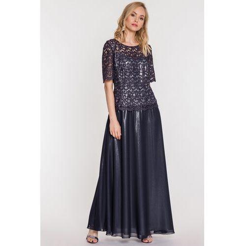 f127d303cd Granatowa suknia z gipiurą - Potis   Verso 916