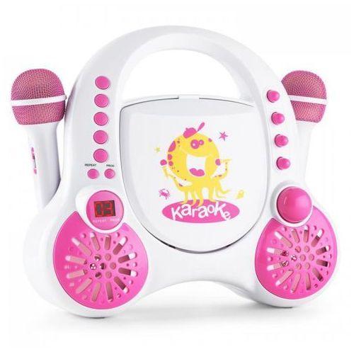 Rockpocket dziecięcy system karaokecd aux 2x mikrofon zestaw naklejek biały marki Auna