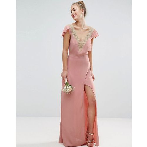 Asos wedding lace applique delicate strap maxi dress - pink