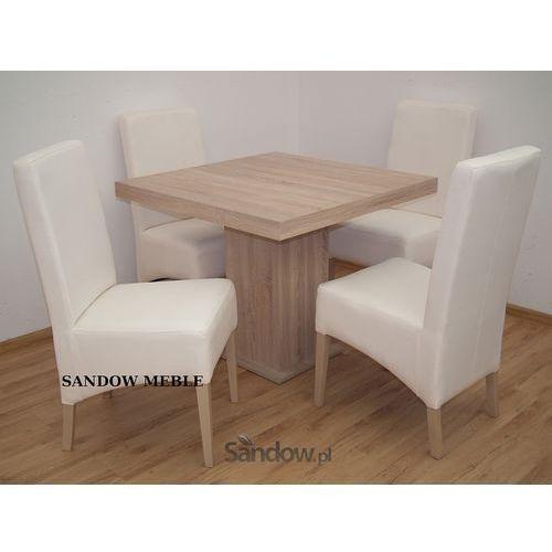 praktyczny stół 90/90 rozkładany do 225 cm z 4 tapicerowanymi krzesłami - produkt dostępny w Sandow.com