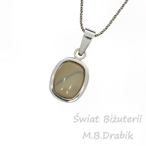 Zawieszka srebrna krzemień pasiasty, materiał srebro, szary