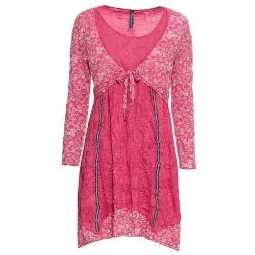 19e6db7272 Sukienka z bolerkiem bonprix czerwień granatu - pastelowy jasnoróżowy  melanż