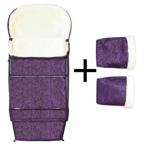 Emitex zestaw zimowy do wózka romance combi śpiworek + rękawice, fioletowy (8595624429181)